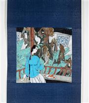 Sale 8435A - Lot 89 - A contemporary Chinese scroll of woman in a garden, image size 25 x 24cm, signed and sealed centre left