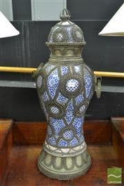 Sale 8515 - Lot 1005 - Moroccan Blue & White Ceramic Lidded Jar & Metal Mounts