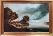 Sale 8600 - Lot 2052 - Continental Style Dutch Country and River Scene with Figure oil painting, 108 x 144cm (frame)