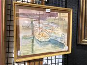 Sale 8807 - Lot 2068 - Les Henson - Boats in the Camber, Old Portsmouth, watercolour, frame size: 27 x 32cm, signed lower left