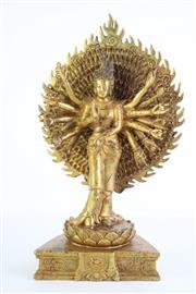 Sale 8840S - Lot 601 - Cast Metal Buddha (Thousand Arms) (H 31cm)