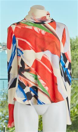 Sale 9120K - Lot 16 - A Giorgio Armani silk long sleeve top; with matching choker, size IT 40