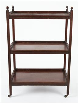 Sale 9123J - Lot 44 - An antique English mahogany 3 tier rectangular servery in original condition C: 1890. The reeded uprights topped by ball turnings, e...