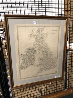 Sale 9147 - Lot 2088 - A Map of the British Isles published in 1842 by J.N.C Walker, frame: 53 x 45 cm -