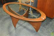 Sale 8338 - Lot 1018 - G-Plan Oval Atmos Coffee Table with Glass Top