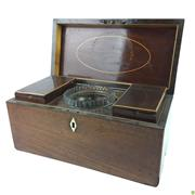 Sale 8562R - Lot 17 - Walnut Tea Caddy, complete with contents (W: 31cm)