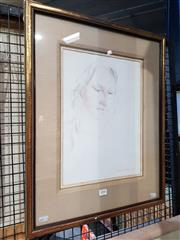 Sale 8702 - Lot 2052 - Garth Legge - Portrait of a Girl, 1975, pencil on paper, 57.5 x 46cm (frame size), signed and dated lower right