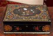 Sale 8804A - Lot 32 - A good Victorian papier mache work box with mother of pearl inlay, floral painting and gilt enclosing a fitted interior, length of b...