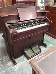 Sale 8917 - Lot 1070 - Late Victorian Walnut Pump Organ, by Bell Piano & Organ Co, retailed by Guelph of Ontario