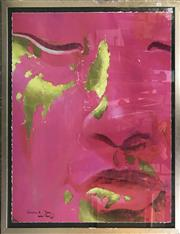 Sale 9024 - Lot 2080 - William E Rees, a portrait in pink, offset lithograph ed. AP, 109 x 94cm (frame), signed and dated lower left