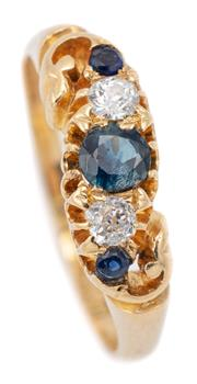 Sale 9083 - Lot 353 - A VICTORIAN STYLE SAPPHIRE AND DIAMOND RING; belcher set in 18ct gold with 2 Old European cut diamonds totalling approx. 0.20ct, bet...