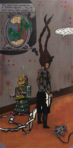 Sale 9096 - Lot 595 - Marika Borlase (1967 - ) - Channel Surfing #2- Robot Wars , 2005 118 x 58 cm (frame: 125 x 65 x 5 cm)