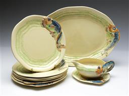 Sale 9090 - Lot 28 - A Clarice Cliff Part Tea Suite with fish designs
