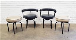 Sale 9129 - Lot 1092 - Pair of modern tub chairs on swivel base together with matching stools (h71 x d63cm)