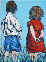 Sale 8475A - Lot 5087 - David Bromley (1960 - ) - Two Children 28.5 x 21.5cm