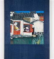 Sale 8435A - Lot 90 - A contemporary Chinese scroll of domestic scene, image size 25 x 24cm, signed and sealed lower left