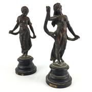 Sale 8545N - Lot 114 - Pair of Bronze Statues on Timber Bases, one marked Gaiety and the other unmarked (H:30cm)