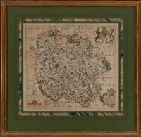 Sale 8934H - Lot 101 - Ex Saxton Atlas 1634, A hand coloured map of Herefordshire and the surrounding counties, FRUGIFERI, frame size 48cm x 49cm