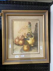 Sale 9053 - Lot 2038 - Artist Unknown - Still Life Onions & Wine, Oil, 24.5x19cm