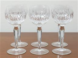 Sale 9140H - Lot 10 - A suite of six lead crystal hock wine glasses, Height 17cm
