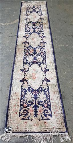 Sale 9146 - Lot 1084 - Blue and cream tone Chinese Tabriz runner (370 x 76cm)