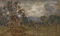 Sale 9150 - Lot 598 - JOHN SAMUEL WATKINS (1866 - 1942) Landscape oil on panel 18 x 29 cm (frame: 29 x 40 x 4 cm) signed indistinctly lower left, National...