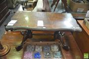 Sale 8406 - Lot 1051 - Shield Shaped Coffee Table with Glass Top on Stretcher Base