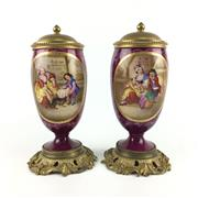 Sale 8545N - Lot 115 - Pair of Porcelain & Gilt Bronze Lidded Urns, possibly Austrian (H:28cm)
