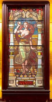 Sale 8804A - Lot 35 - A good Victorian stained-glass window of Venus holding the apple, titled below, Height of glass 166cm x Width 73cm