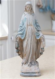 Sale 8866H - Lot 85 - A painted plaster model of the Virgin Mary, engraved to back MTA 881, Height 33cm