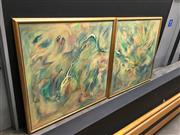 Sale 8859 - Lot 1015 - Renée Allem (XX) Cseaing Iniminaties, 1996 (diptych) Oil on Canvas 150 x 150cm each