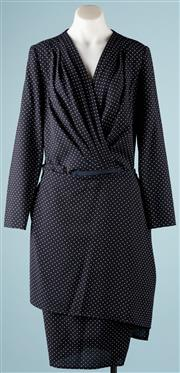 Sale 9090F - Lot 73 - A VINTAGE BOUTIQUE 5  TWO PIECE SUIT; navy and white spot light weight wool fabric, top is a cross over bodysuit fit, fitted skirt h...
