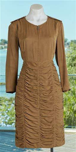 Sale 9120K - Lot 36 - A Burberry London khaki long sleeve dress; dress with ruffled design, size UK 8