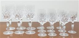 Sale 9140H - Lot 57 - A suite of cut crystal stemwares, tallest height 18.5cm