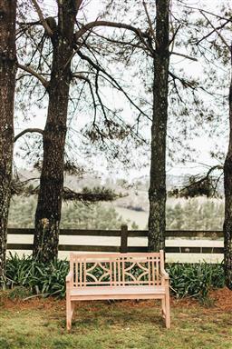 Sale 9200P - Lot 63 - A diamond back teak bench, Height of back 92cm x Length 130cm x Depth 64cm