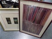 Sale 8437 - Lot 2076 - (2 works) Framed Decorative Aboriginal Print and Framed Duo of Etchings