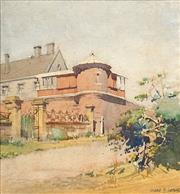 Sale 8704A - Lot 5096 - Harold Herbert (1892 - 1945) - Corner Turret of a Grand Residence 26.5 x 24.5cm