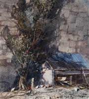 Sale 8976A - Lot 5024 - Tom Garrett (1879 - 1952) - Farmyard Landscape 28 x 25.5 cm (frame: 50 x 45 x 2 cm)