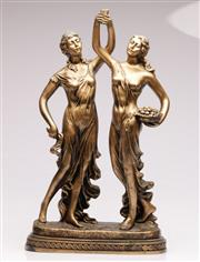 Sale 9071 - Lot 1006A - An Impressive Gilt Composite Figure of Two Maidens