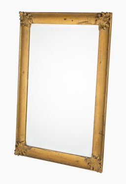 Sale 9150J - Lot 50 - Water gilded mirror with bevelled glass and ancanthus detail to corners, 93 x 63cm