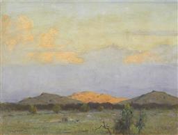 Sale 9195 - Lot 584 - CHARLES WHEELER (1880 - 1977) Landscape & Mountains oil on board 44.5 x 59.5 cm (frame: 49 x 65 x 5 cm) signed lower left