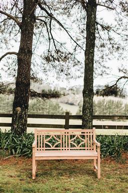 Sale 9200P - Lot 68 - A tri-diamond shaped back teak bench, Height of back 90cm x Length 130cm x Depth 63cm