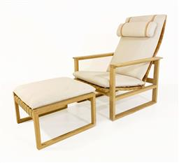 Sale 9252AD - Lot 5042 - BORGE MOGENSEN HIGHBACK RECLINER & FOOTSTOOL #2254 FOR FREDERICA ,1950s: soap oak frame with exposed joinery showcasing Danish moder...