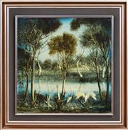 Sale 8394 - Lot 553 - Kevin Charles (Pro) Hart (1928 - 2006) - Dancing Brolgas 45 x 45cm