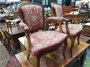 Sale 8416 - Lot 1032 - Pair of Louis XV Style Beech Armchairs, with floral needle point style upholstery in red & cream tones