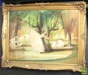 Sale 8468 - Lot 2062 - Italian School (XX) Ballerinas, oil on canvas, 69 x 93cm, signed lower right