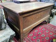 Sale 8562 - Lot 1085 - 19th Century French Oak Coffer, with hinged top, moulded edge panels & stile feet. Width: 129 cm