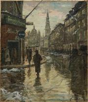 Sale 8867 - Lot 582 - German School (Early C20th) - Street Scene 72.5 x 62.5 cm