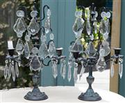 Sale 8866H - Lot 56 - A pair of graduated three branch candelabras with prismatic drops together with four tin plate pressed appliques, Height of candelab...