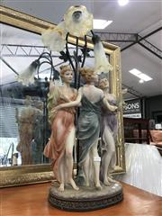 Sale 8868 - Lot 1570 - Table Lamp With Glass Shades & Three Woman Figures